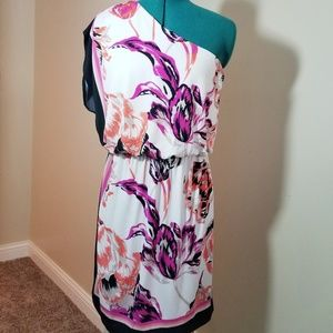 One Shoulder Cream and Floral Dress
